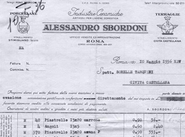 Fattura Alessandro Sbordoni