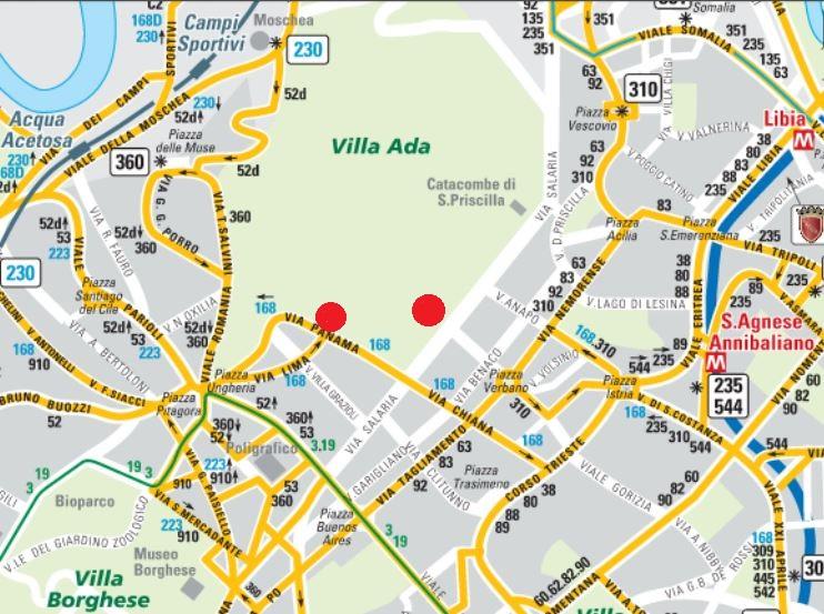 Mappa trasporti pubblici Villa Ada